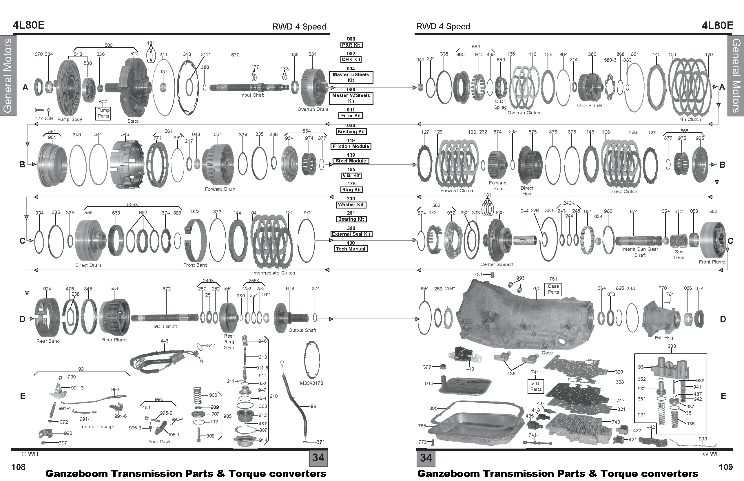 4l80e automatic transmission parts diagram