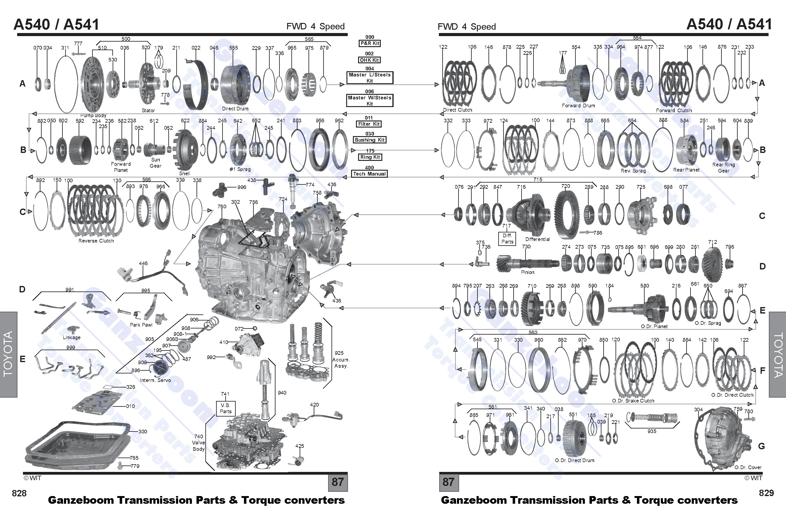 Toyota A340 Transmission Parts Diagram Wiring Diagram